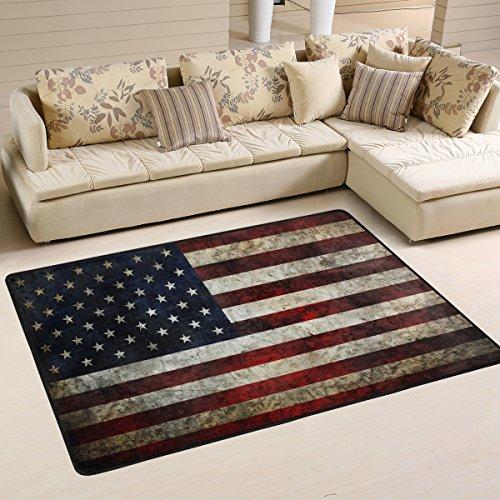 naanle USA-Flagge im Retro-Look, rutschfest, für Wohnzimmer, Schlafzimmer, Küche, 50x 80cm (2x 2,6m, Sterne und Streifen, Teppich, Yoga-Matte, multi, 60 x 90 cm(2' x 3')