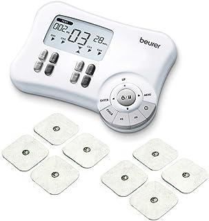 Beurer EM80 - Electroestimulador Digital, para aliviar el dolor muscular y el fortalecimiento muscular, masaje EMS TENS, 4 canales, 8 electrodos autoadhesivos, 20 programas libres, color blanco