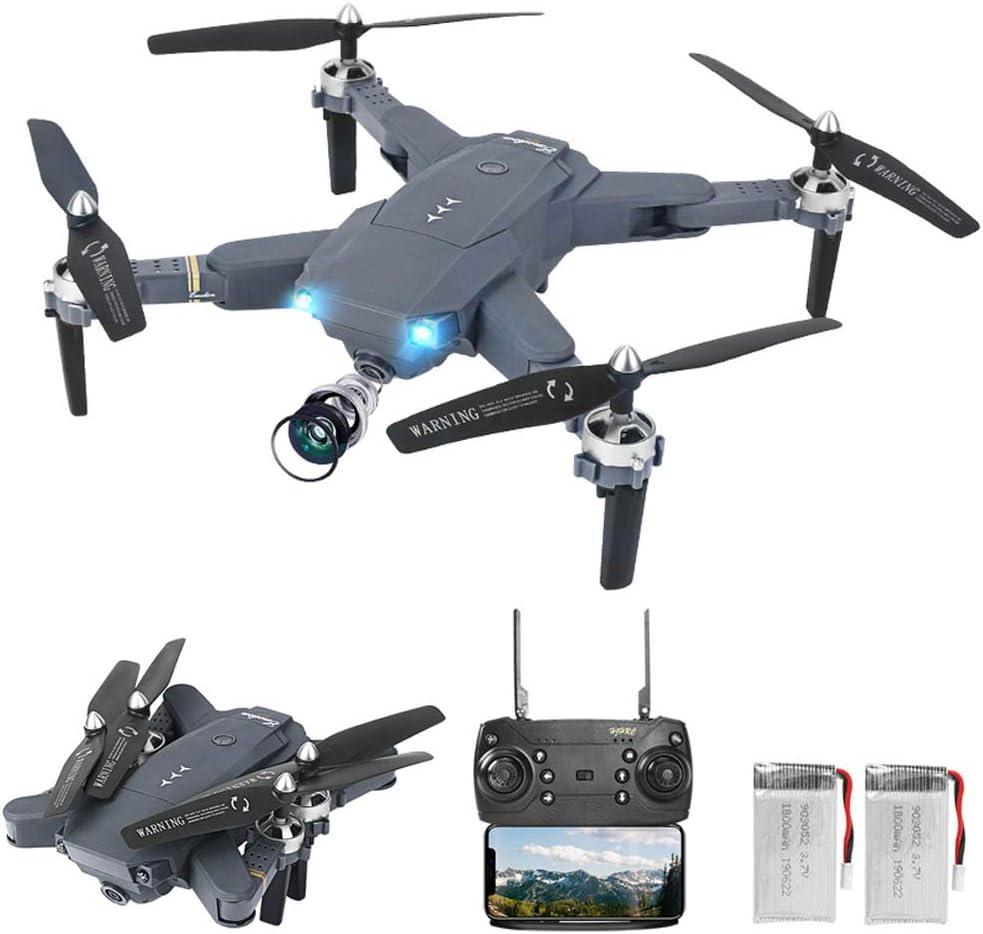 0BEST Dron con Cámara,1080P HD, Avión WiFi FPV por Control Remoto, Cuadricóptero de Plegable, 3 Modos de Velocidad, Modo sin Cabeza, Regreso con un Solo Botón
