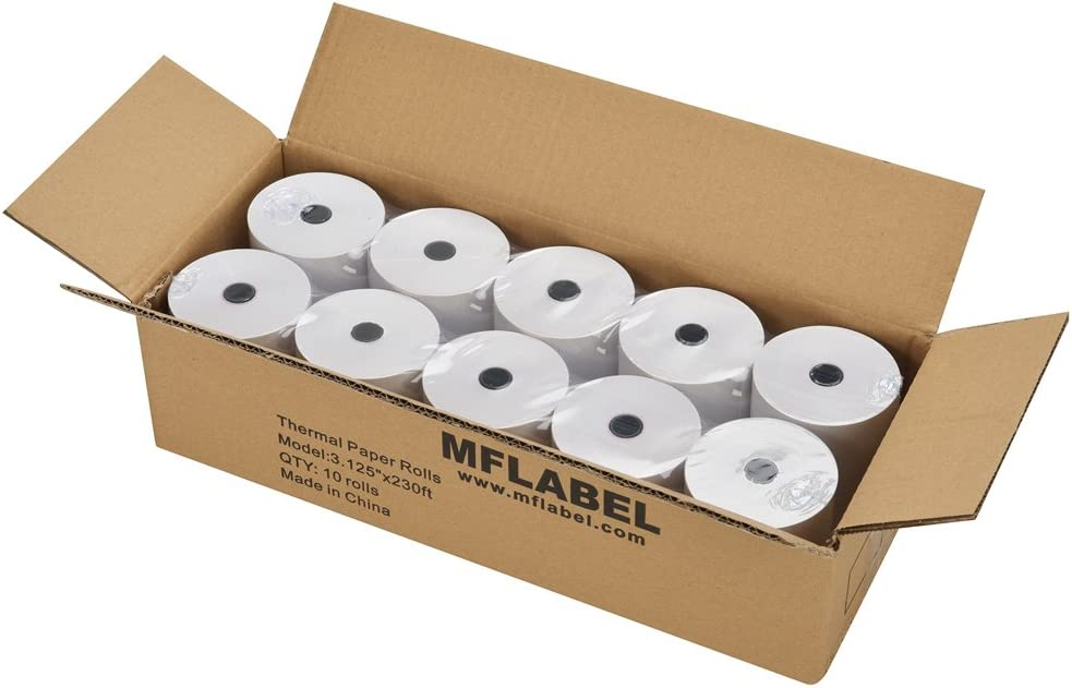 MFLABEL 10 Rolls Thermal Receipt Paper Rolls 3-1/8 x 230ft : Office Products