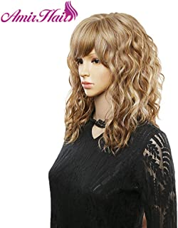 Amir blonde curly synthetic wigs with free side bangs medium Length Heat Resistant Fiber Cosplay wig for Africa American women (blonde)