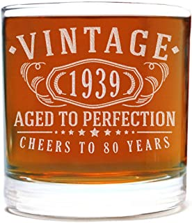Vintage 1939 Etched 11oz Whiskey Rocks Glass - 80th Birthday Aged to Perfection - 80 years old gifts Bourbon Scotch Lowball Old Fashioned