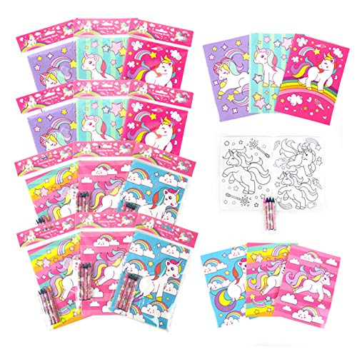 Unicorn Coloring Books for Kids with 12 Coloring Books and 48 Crayons, Unicorn Party Favors, Unicorn Favor Bag Filler, Unicorn Party Supplies, Prizes Rewards 2