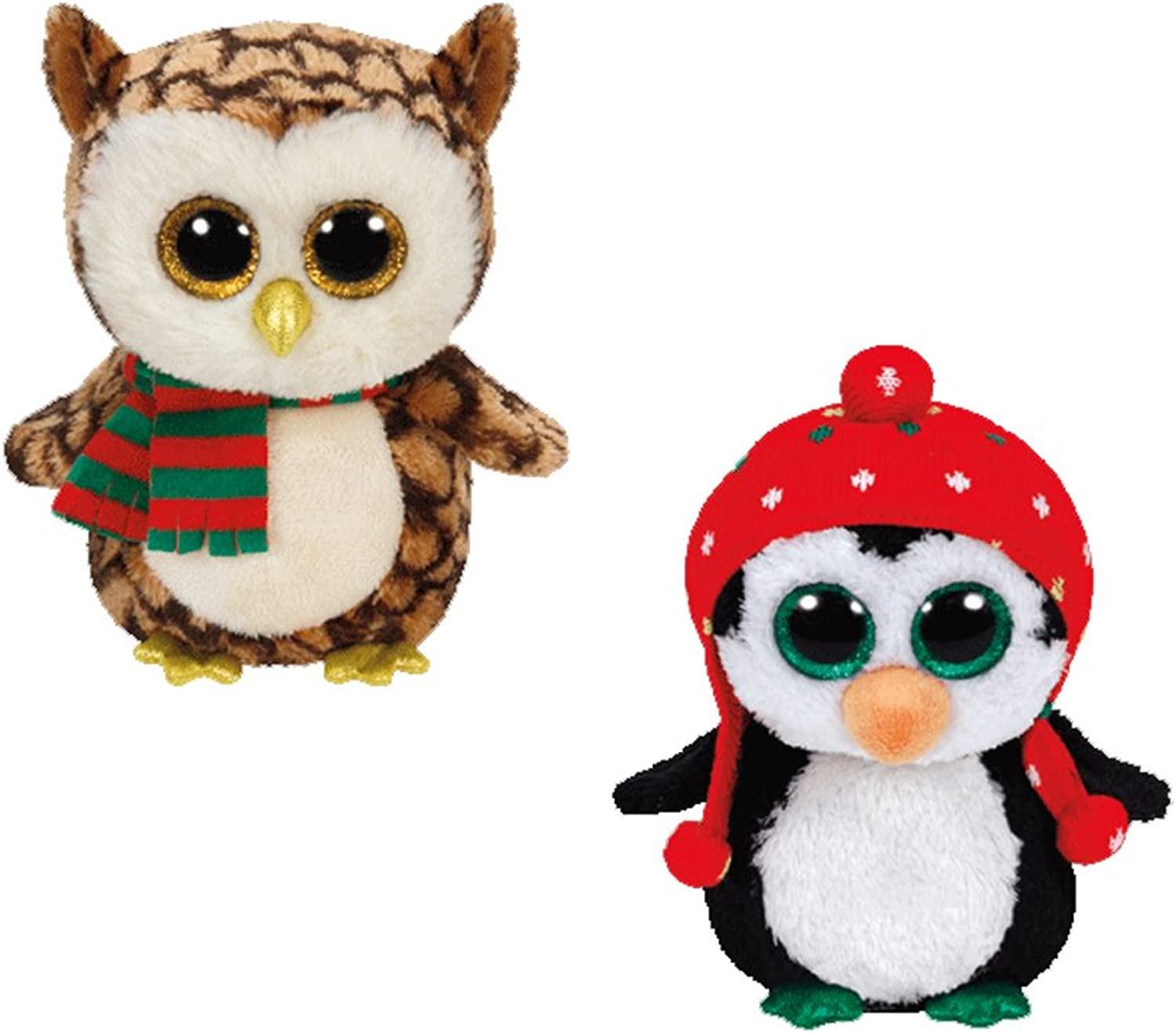 Ty Beanie Boos 2015 Christmas set Freeze the Penguin and Wise the owl by Ty Beanie Boos
