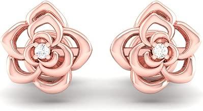 Dazzlingrock Collection 0.02 Carat (ctw) 14K Gold Round Cut White Diamond Ladies Flower Shaped Stud Earrings