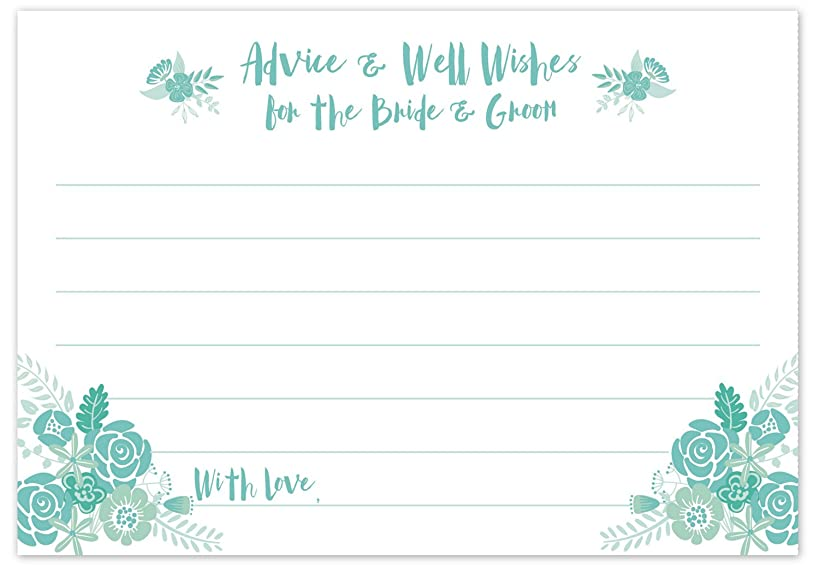Mint Green and Aqua Bridal Wedding Advice Cards - Advice & Well Wishes for the Bride & Groom - Bridal Shower or Reception Activity Game (50 Count)