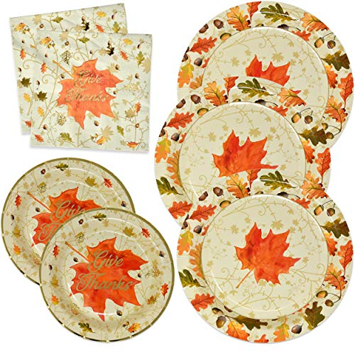 Thanksgiving Paper Plates and Napkins Disposable for 50 Guests includes 50 10 Dinner Plates 50 7 Dessert Plates and 100 Luncheon Napkins in Elegant Gold Foil Fall Design for Autumn Tableware Set