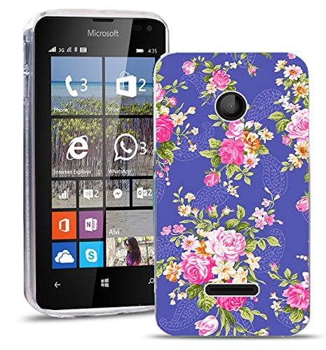 Microsoft Lumia 435 Handy Tasche, FoneExpert® Ultra dünn TPU Gel Hülle Silikon Hülle Cover Hüllen Schutzhülle für Microsoft Lumia 435 + Bildschirmschutzfolie (Flower)