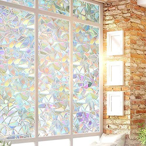 Sarpico 100 * 45cm Glue-free Static Decoration Privacy Window Stained Glass Rainbow Film Self-adhesive UV-resistant Sticker Non-Adhesive 3D Irregular Pattern Colorful Decorative Sun Protection Films