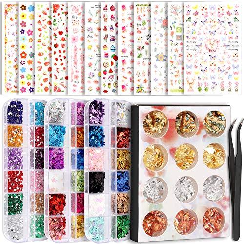 Teenitor Nail Art Decoration Set with 12 Sheets Nail Art Stickers, Nail Foil Flakes, Nail Sequins, Nail Rhinestones, Nail Tweezers, 3D Self-Adhesive Nail Stickers for Kids