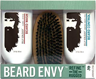 Billy Jealousy Mens Beard Envy Kit with Beard Wash, Conditioner and Boar Bristle Brush