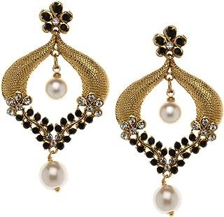 Bindhani Bollywood Fashion Jewellery Traditional Ethnic Bridal Bride Bridesmaid Gold Plated Chandbali Indian Wedding Kundan Stone Faux Pearl Dangle Drop Earrings Jewelry For Women
