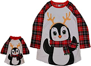 Girls Red Plaid Flannel Penguin Reindeer Nightgown & Doll Night Gown Set