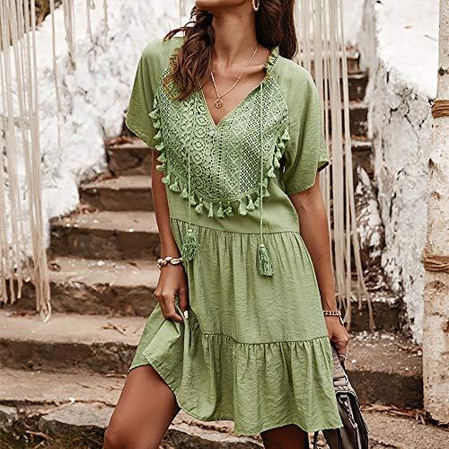 JIAGU Verano de Las señoras con Cuello en V Señora Temperamento del Vestido Ocasional de Costura del cordón del Color sólido Vestido de Mujer (Color : Light Green, Size : L)