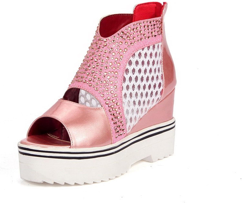 AllhqFashion Women's Blend Materials Solid Zipper Open Toe High Heels Sandals