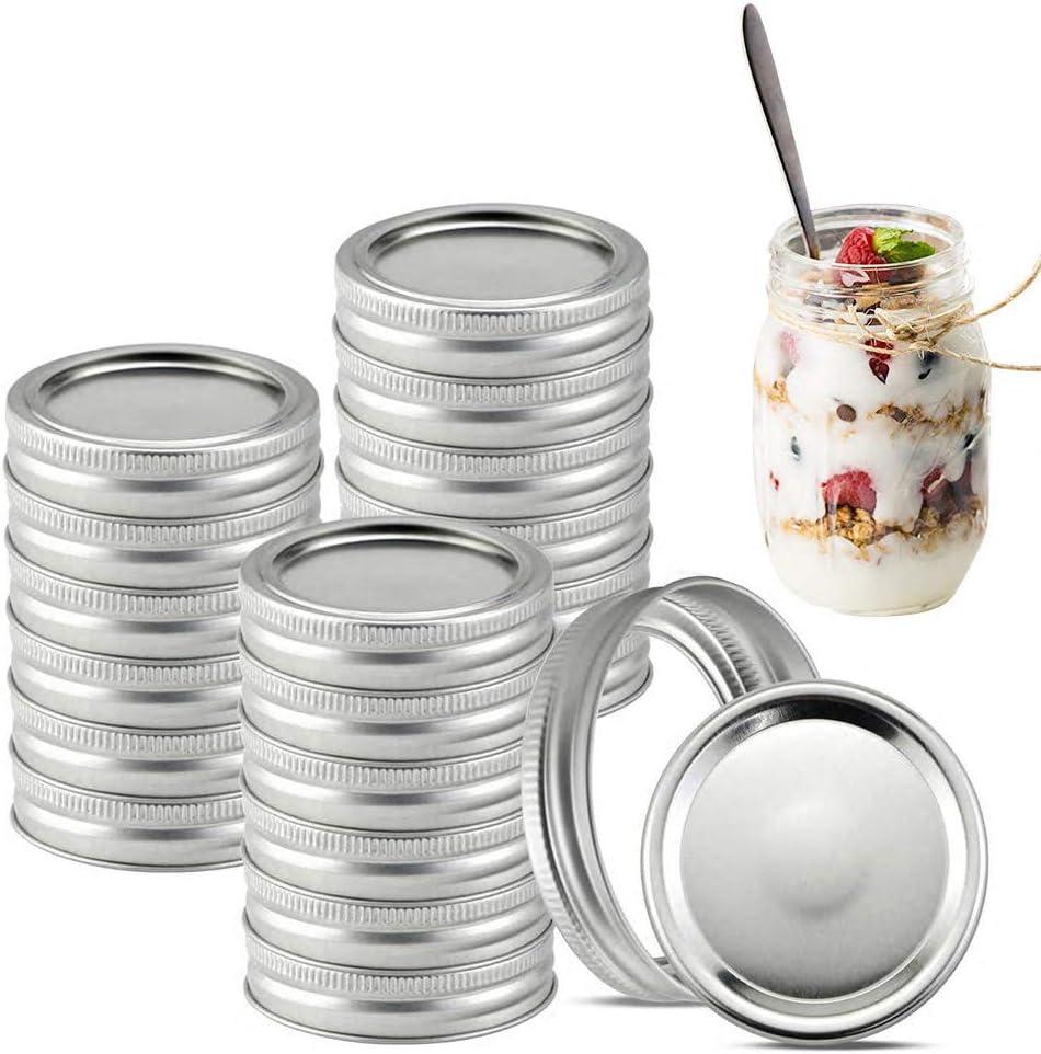 UniHom Canning Lids for Mason Jar 24 Sets of Regular Mouth Canning Jar Lid Split-Type Lids Leak Proof Tinplate Canning Lids 70MM Lids and Bands, Sliver Sliver, 24 Sets 70MM Lids and Bands