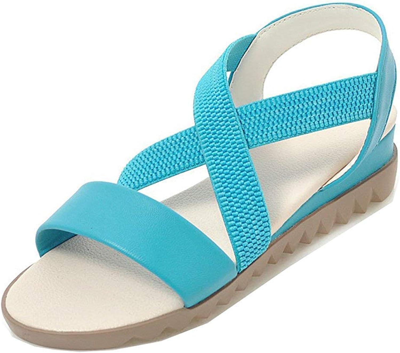 Unm Women's Open Toe Wedge Sandals - Elastic Ankle Wrap - Comfort Casual Low Heel