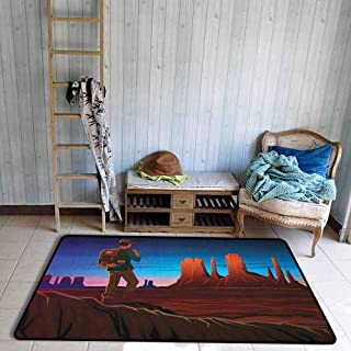 Living Room Area Rug,Southwestern Monument Alley with Early Daylight Tourist on a Hill Camping Traveling Cartoon,Ideal Gift for Children,4'11