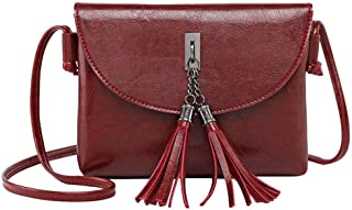 Sling Bag Women's Fashion Classic Shoulder Messenger Bag PU Leather Double Tassel Handbags Ladies Travel Wallet Messenger Bag Handbags Purse Wallet KAVU Bag (Color : Red)