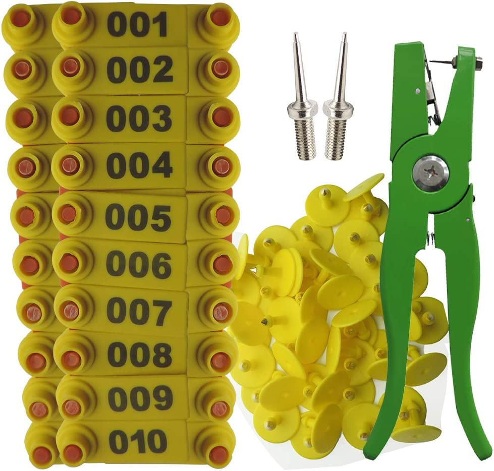 Lucky Farm 001-100 Sheep Ear Tags with Max 59% OFF Houston Mall Needle Pins Tag Plier
