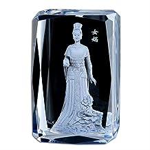 ZGPTX Crystal 3D Laser Statue Decor Gift Crystal Buddha Statue Nvwa God Ornament Buddhism