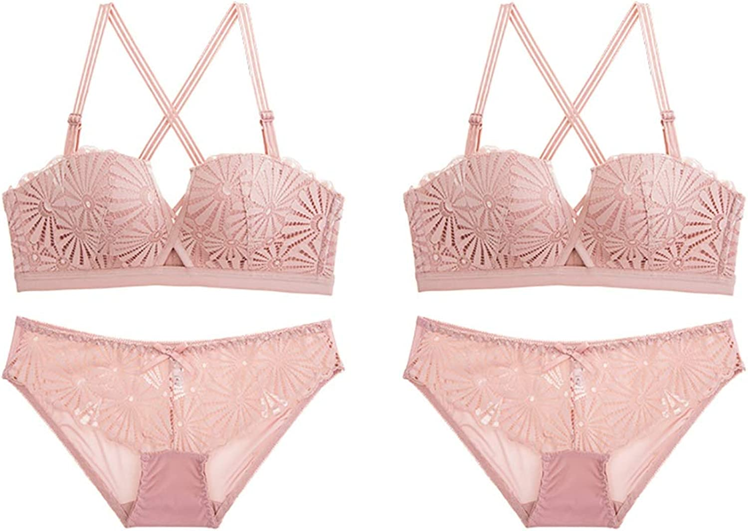 NICE' living hall Lace Embroidered Floral Comfort Gathered Sexy Bra 2 Piece Suit, Sponge, no Steel Ring, Adjustable Chest Type, Three Rows of Three Buckles. Comfortable (Size   70B=30B=65B)
