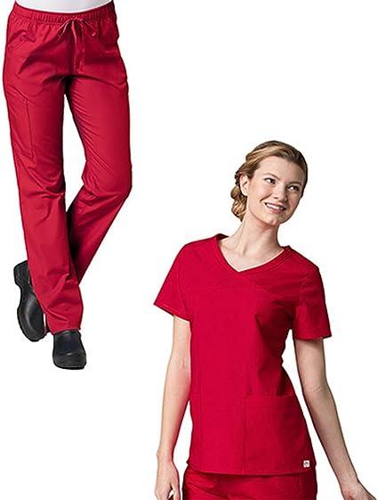 Maevn Scrubs Set RED PANDA Women/'s Mock Wrap Top /& Full Elastic Pant 1726//9726