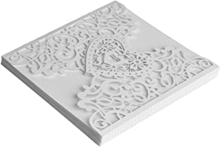 DIY Wedding Invitations, Wedding Cards, Exquisite High-End Birthday for Business(white, Heart-shaped)