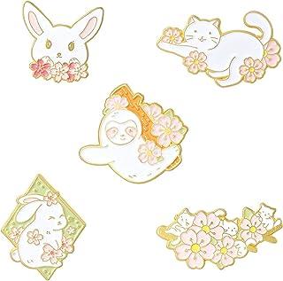 5Pieces Pin Sets with Flower Animal Enamel Brooch Pins Cartoon Rabbit Cat Koala Sakura for Girls Kids Gift Lapel Pins Acce...