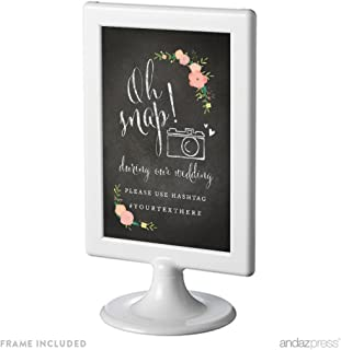 Andaz Press Personalized Framed Wedding Party Signs, Chalkboard Floral Roses Print, 4x6-inch, During our Wedding, Please Use # Hashtag, 1-Pack, Custom Made Any Name, Includes Frame