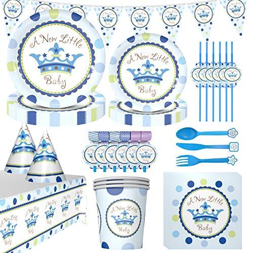 Amycute Juego de vajilla para fiesta de bebé, para fiesta de bienvenida de bebé, para 6 personas, decoración de cumpleaños, platos de papel, vasos de papel, servilletas, mantel.