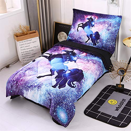 Wowelife Toddler Unicorn Bedding Sets for Girls 4 Piece Galaxy Kids Toddler Bed Sets(Spcace Unicorn)