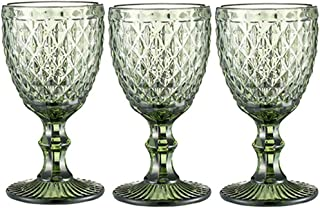 Wine Glasses set of 3 Red Wine Glass 10oz for Party Wedding Chalice Goblet Vintage Pattern Embossed Chalice Goblet (Green)
