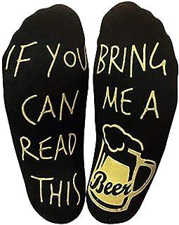 VJGOAL, Unisex moda casual impresión de la letra creativa Si puedes leer esto Tráeme una cerveza Calcetines de tobillo divertidos para los amantes de la cerveza(Un tamaño,Negro)