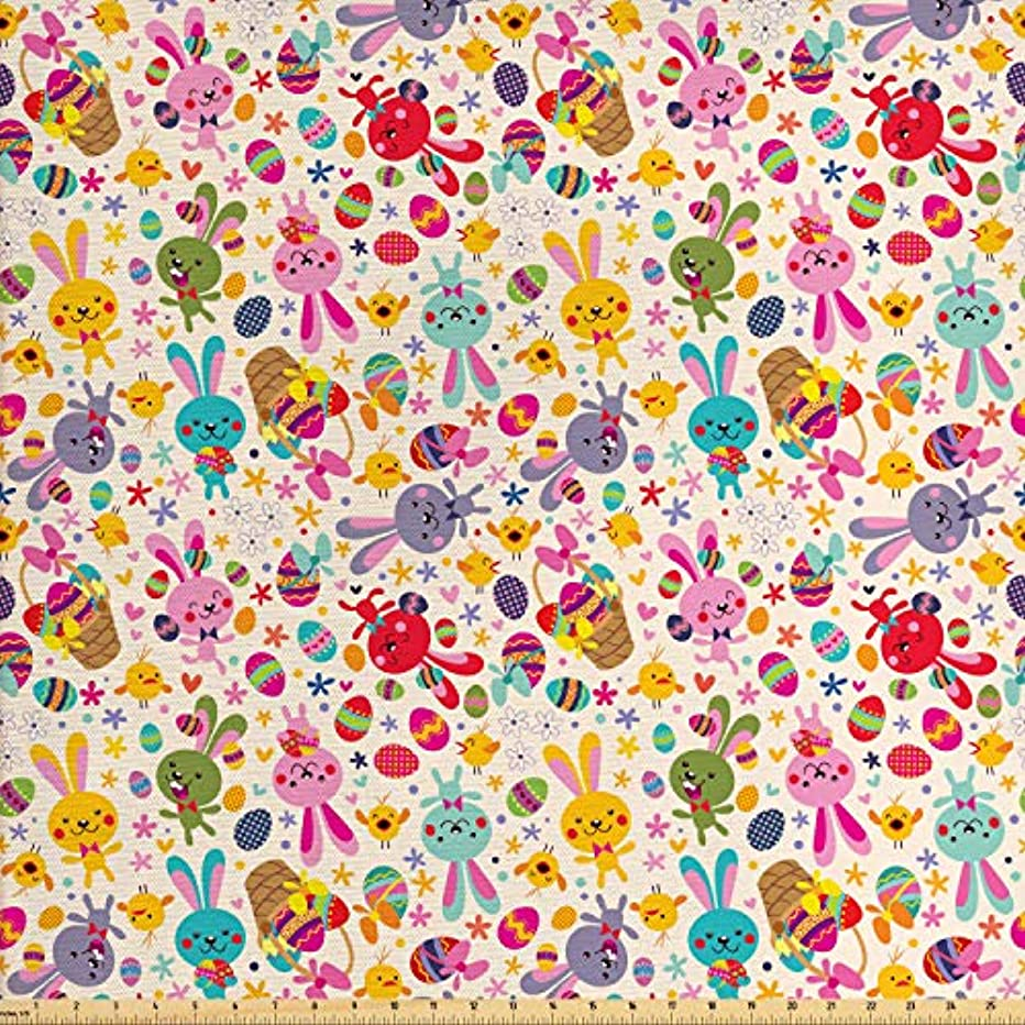 Lunarable Easter Fabric by The Yard, Children Chicks Happiness Basket with Bunnies Painted Chicken Eggs Culture Illustration, Decorative Fabric for Upholstery and Home Accents, 1 Yard, Multicolor