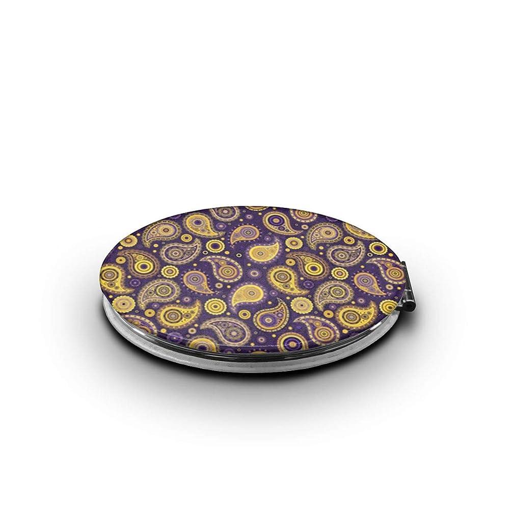 読者うめきカールミラー 化粧鏡 ペイズリーパープルズ&ゴールド コンパクトミラー 軽量 丸型 折りたたみ鏡