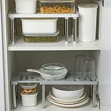 Adjustable Cabinet Shelf, Koosha Kitchen Closet Organizer Storage Rack (White)