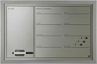Bi-Office - Organizador Semanal Magnético, 60 x 40 cm, Pizarra de Planificación con Marco MDF Gris, Superficie Plateada