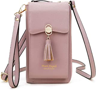 Pearl Angeli Damen Handy Umhängetasche, Handytasche zum Umhängen Geldbörse, 11 Kartenfächer Brieftasche Schultergurt, PU L...