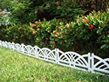 WOOLUX GARDEN Zaun weiß 4 TLG 2,40 m Rasenkanten Beeteinfassung Palisade Beetumrandung Zierzaun Gartenzaun