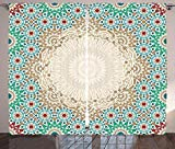 Waple Cortinas opacas ojete para sala de estar Cortinas marroquíes, arte de mosaico y patrón boho de cerámica floral oriental 220*215cm Cortinas Opacas 3D Cortinas Paneles 3D Cortinas con Ojales para