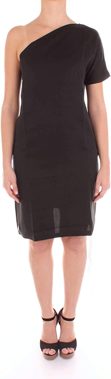 Numero00 Women's 2383ASYBLACK Black Cotton Dress