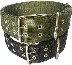 Pesp Pet Dog Metal Buckle 2-rows Army - Nylon Fabric Belt Strap Adjustable Collar