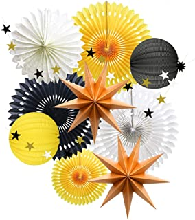 Yellow Black White Party Decorations, Hanging Tissue Paper Fans Star Garland Paper Lanterns Bumblebee Bee Baby Shower Gender Reveal Birthday Party Decoration