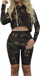 Sorrica Women's Sexy 2 Piece Jumpsuit Sportswear Camo Hoody Pants Set Tracksuit