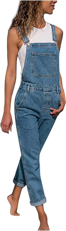 ManxiVoo Women's Casual Stretch Adjustable Plus Size Denim Bib Overalls Jeans Pants Jumpsuits