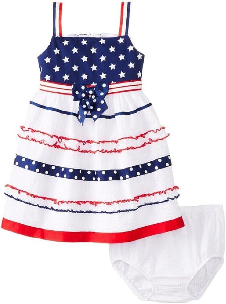 Bonnie Jean Cheap bargain Baby Girls Seersucker Americana Dress Red White Blue Max 76% OFF