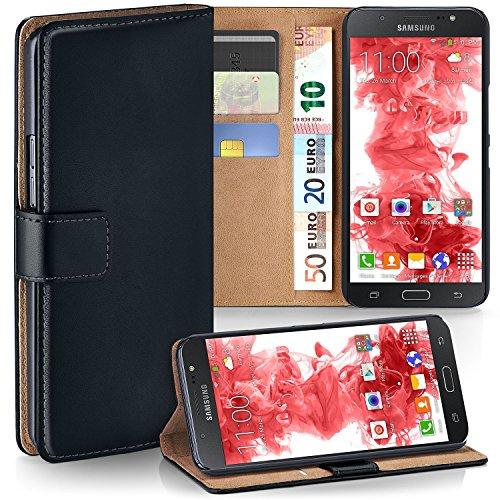 MoEx Premium Book-Hülle Handytasche kompatibel mit Samsung Galaxy J7 (2016)   Handyhülle mit Kartenfach & Ständer - 360 Grad Schutz Handy Tasche, Schwarz