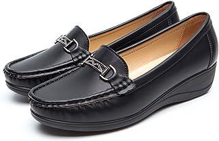 636a0ac7c2a Mocasines Negros Planos para Mujer Invierno - Zapatos Comodos Plataforma  Cuña, Adecuado para Oficina y