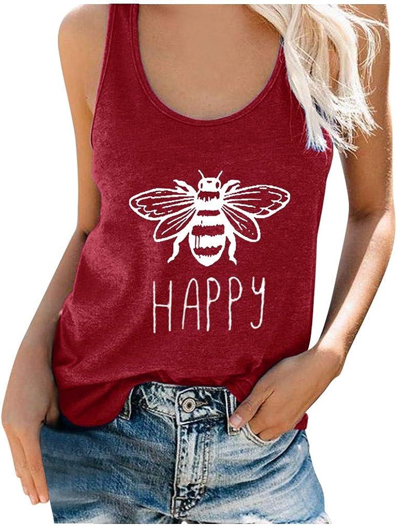Portazai Summer Cute Graphic Tank Tops for Women Funny Letter Bee Print Sleeveless T Shirt Workout Sport Tank Top Blouse